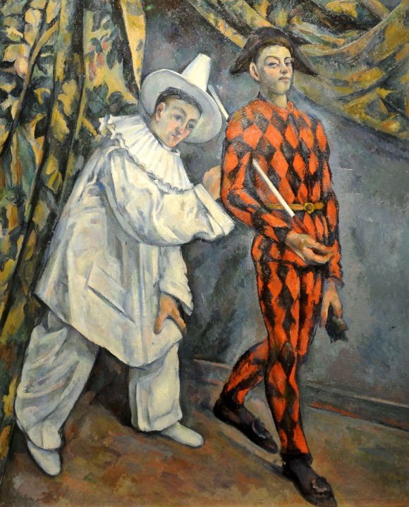 Pierrot and Harlequin [Mardi-Gras] (1888-1890) - Paul Cezanne - Gallery of European and American Art - Moscow Musts